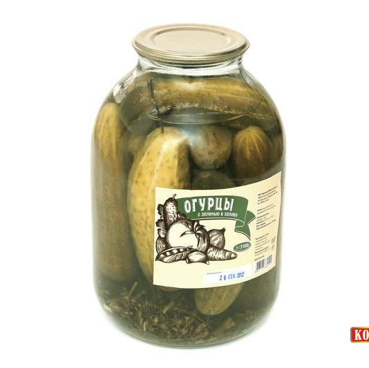 Огурцы консервированные с зеленью