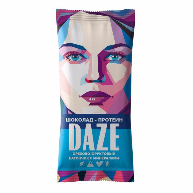 DAZE Шоколад - протеин Орехово - фруктовый батончик