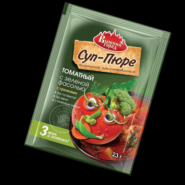 """Суп-пюре """"Вышний город"""" томатный с зеленой фасолью"""