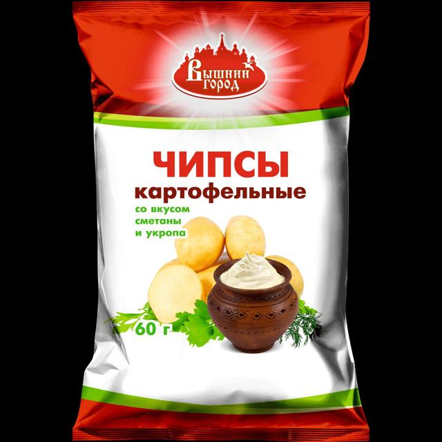"""Чипсы картофельные """"Вышний город"""" со вкусом сметаны"""