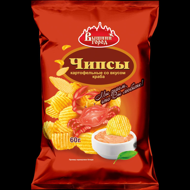 """Чипсы картофельные """"Вышний город"""" со вкусом краба"""
