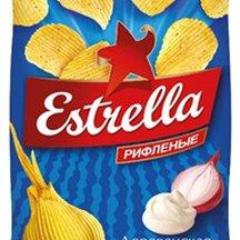 Чипсы Estrella рифленые со вкусом сметаны и лука 60г